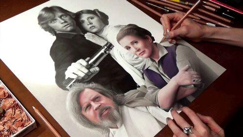 "heather12ooney4rt: ""Drawing Luke Skywalker and Princess Leia YouTube drawing video"" #starwars"