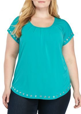 Kim Rogers Women's Plus Size Short Sleeve Grommet Neck Top - Turquoise Clove - 1X