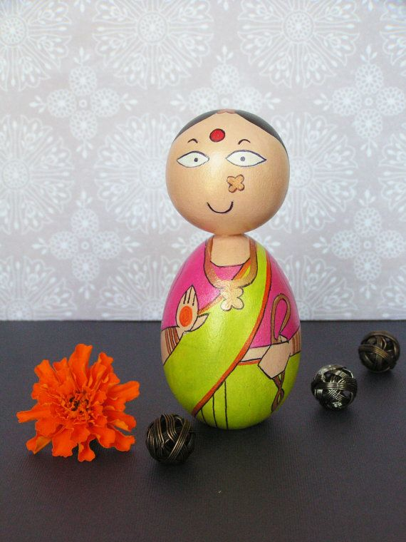 Sundari Devi - Hand Painted Wooden Golu Dolls