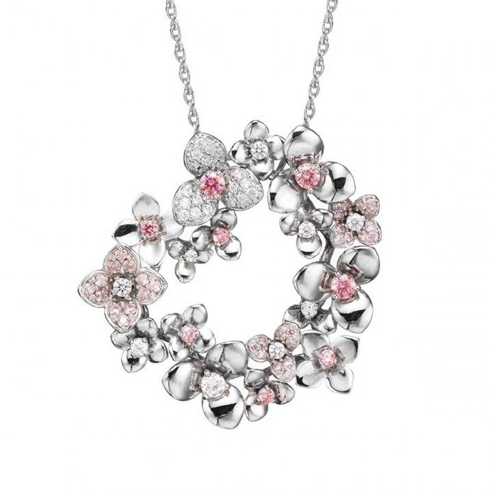 Design by Jae Young Lee made with SWAROVSKI ZIRCONIA – Pink, Fancy Pink and White, as seen in Gem Visions 2012  Gem Visions, the annual trend and design book by SWAROVSKI GEMS™, provides insights into upcoming design trends and inspires on-trend gem-set jewelry creations.