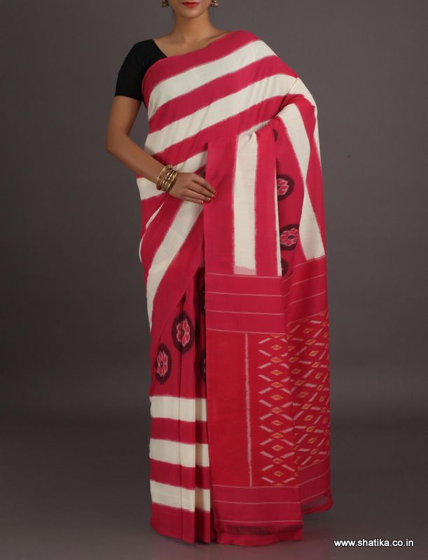 Karishma Half and Half Stripes and Design Ikat #PochampallycottonSaree