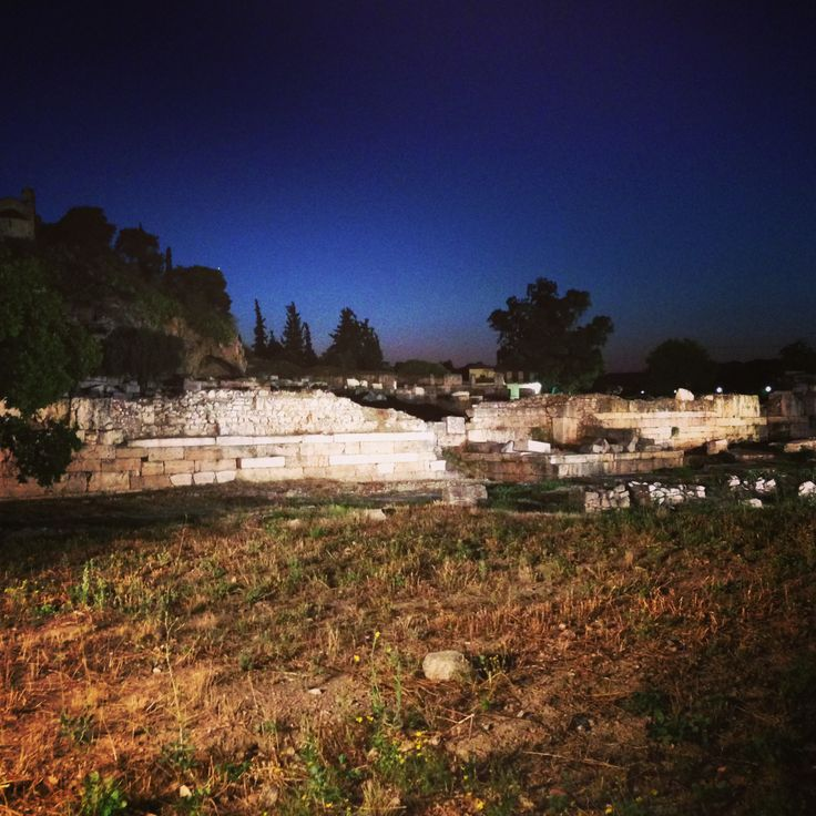The Archaeological site in Elefsina at night