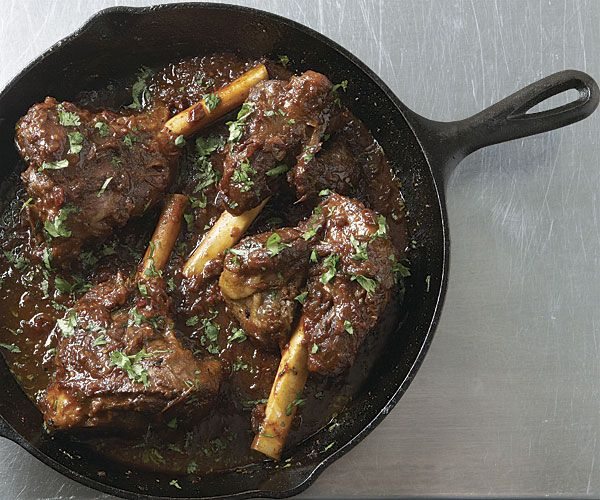 Southwestern Braised Lamb Shanks  A cast-iron skillet keeps the temperature steady even when the heat is low, as is ideal for low-and-slow braises like these lamb shanks.