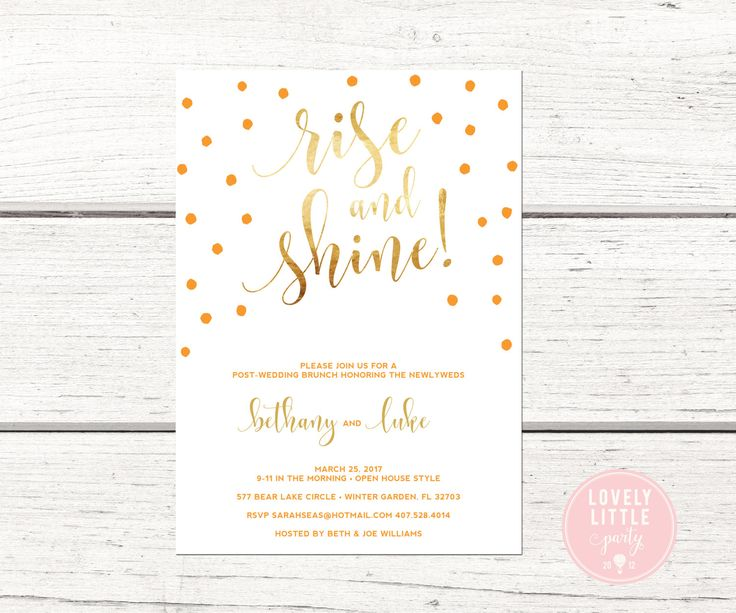 Rise and Shine Confetti Brunch Breakfast Invitation, Wedding Stationary,  Printable or Printed -  Lovely Little Party