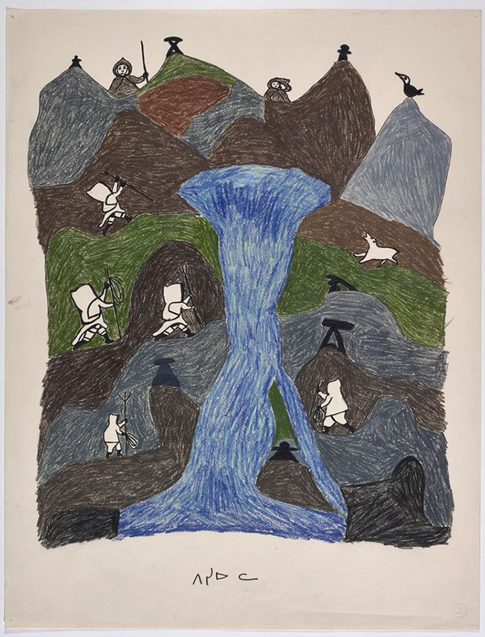 """""""It seems like only the men...who were really good hunters...would go to Netsilik because it was so far from shore."""" — Pitseolak's son Kumwartok in an interview in 1979. Pitseolak Ashoona, drawing for print """"The River at Netsilik,"""" c. 1966–76, Collection of the West Baffin Eskimo Co-operative Ltd."""