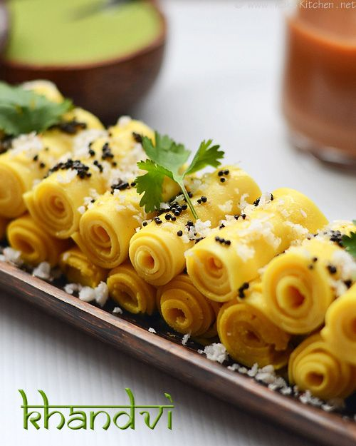 khandvi | Just make a green chutney and make khandvi and everyone can pick and chit chat with this delicious yet guilt free authentic snack! | rakskitchen.net