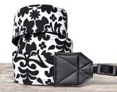 DSLR Camera Strap - Neck Strap, Shoulder Strap, Cross Body Strap - Nikon, Canon, Sony, Olympus, Pentax - Black and White Damask
