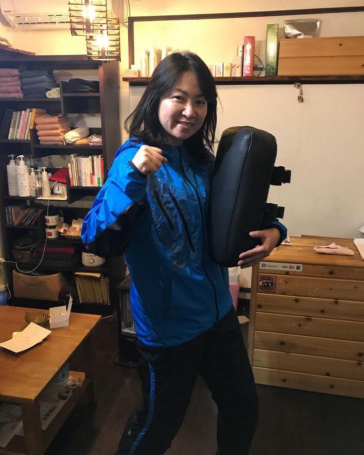 今日からファイティングエクササイズ 私のサロンのダイエットメニューに入れたいのでまずは私が実践 専属コーチが来てくれてます #ファイティングエクササイズ #下半身ダイエット #福岡 #リラクスペースmano