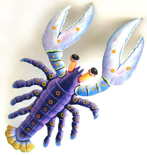 "Nautical Design - Painted Metal Lobster Wall Decor in Shades of Purple - 15"" x…"