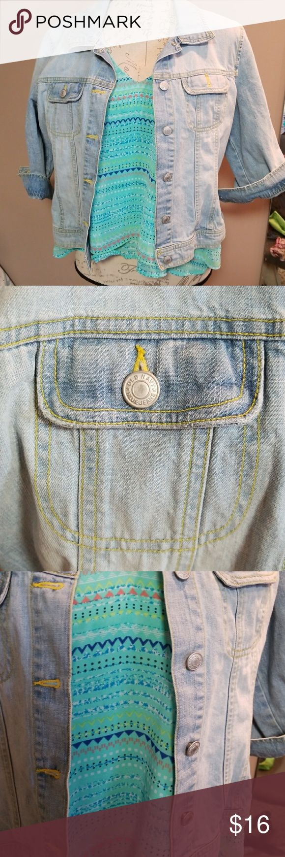 Old Navy jean jacket with FREE tank top! Great jean jacket by Old Navy. Sleeves are 3/4 and would look great rolled up or buttoned. Jacket is in excellent condition. I am including a free XL tank top by Candies because they look so darn cute together! Old Navy Jackets & Coats Jean Jackets