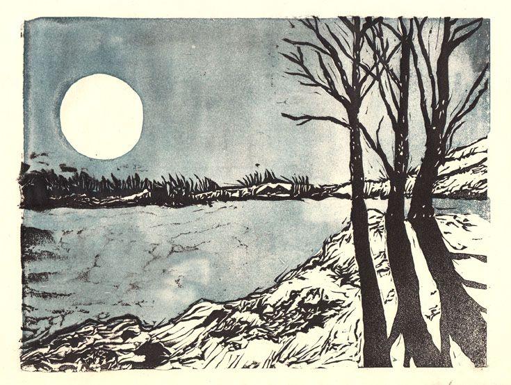 'Winter Landscape' linocut by Jade They. www.jadethey.com. Tags: Linocut, Cut, Print, Linoleum, Lino, Carving, Block, Woodcut, Helen Elstone,  Moon, Trees, Water, Snow.