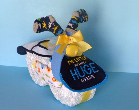 Yellow & Blue Diaper Motorcycle Pampered by PamperedBabyCreation