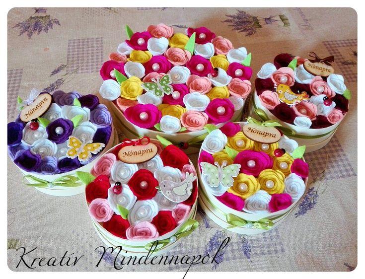 Nőnapra ajándék virágdobozok, kézzel készített filc virágokkal 🌺🌹 Women's day flowerbox, with félt flowerbox 🌹🌺