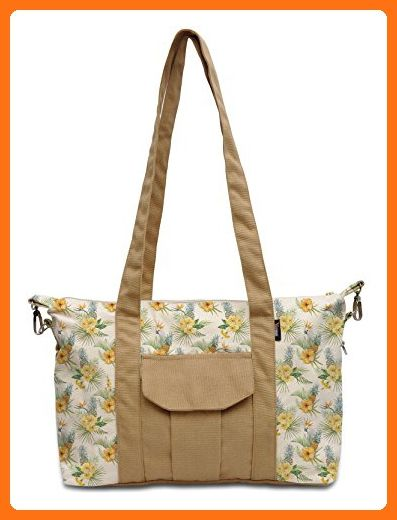 Pinapple Tree Beige-Sand Brown Print Picnic Canvas Tote Bag Shoulder Bag WAS_18 - Totes (*Amazon Partner-Link)
