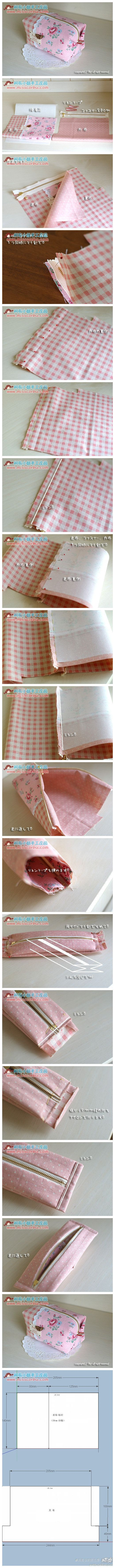 Cute little boxed corners  pouch picture tutorial. Nice way to neaten/hide the seams inside.