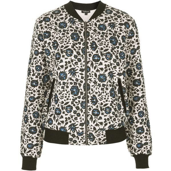TOPSHOP Floral Print Jersey Bomber Jacket ($45) ❤ liked on Polyvore featuring outerwear, jackets, topshop, blue, bomber style jacket, flower print bomber jacket, blue quilted jacket, bomber jackets and floral bomber jackets