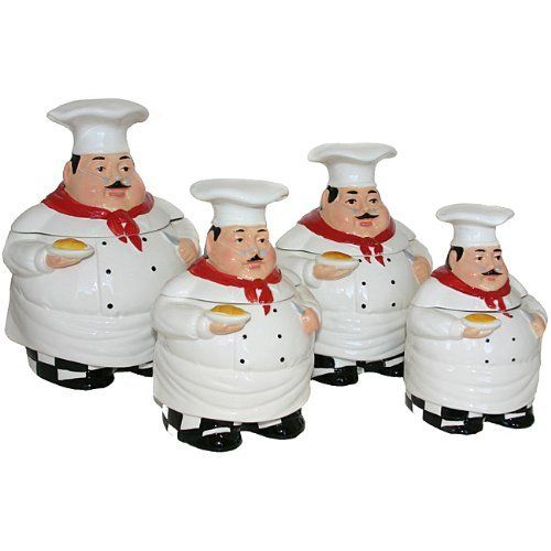Plump Chef Collection Deluxe Handcrafted 4 Piece Kitchen Canister Set By  ACK. $60.02.