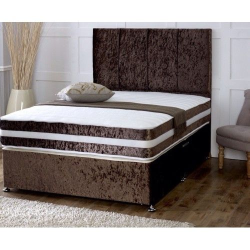 Velvet high head Divan Double Bed Brown Bed, Leather bed