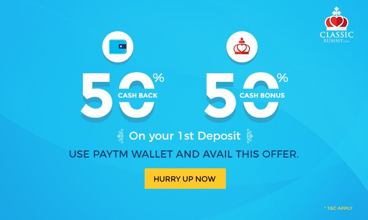 Get 50% Cash Back & 50% Cash Bonus On your 1st Deposit. Use Paytm wallet and avail this offer. Hurry Up Now.  #rummy #paytm #online #card #games #mobile