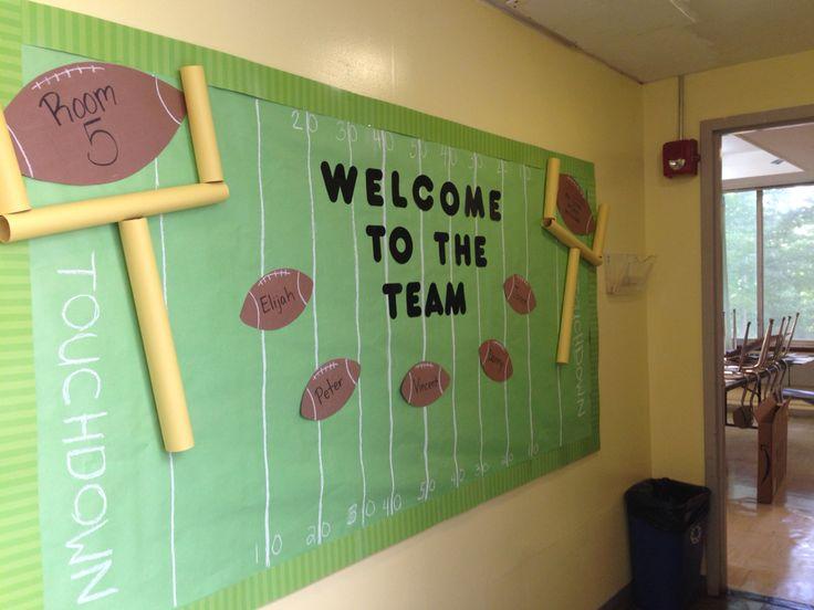 Welcome back bulletin board. Football theme
