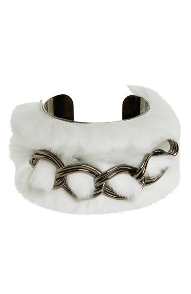 Women's Tuleste Genuine Rabbit Fur & Chain Wide Cuff