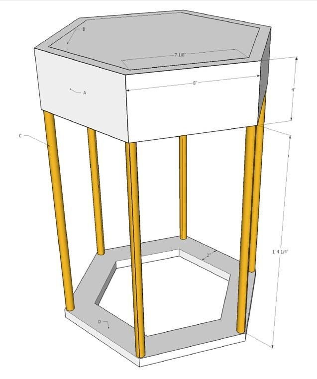 Tutorial for building modern hexagon side table using wood and copper pipe, including furniture design plans.