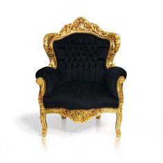 Barokowy, dekoracyjny fotel królewski, złota, drewniana rama, czarne, welurowe…