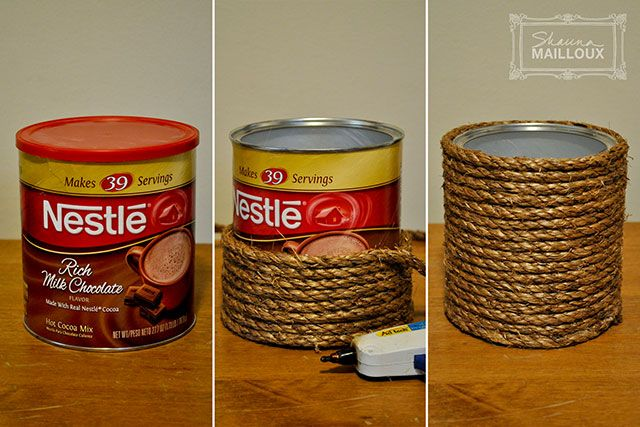 DIY round basket - coffee can, rope, hot glue-possible idea for centerpieces I think I'm going to try this using a paint can