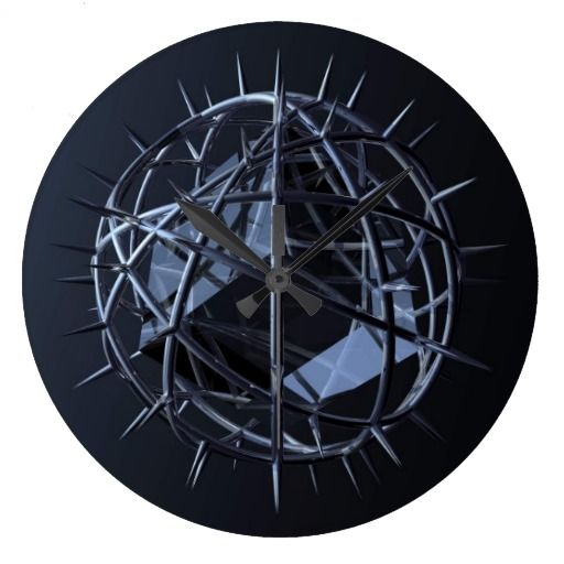 The Cube Wall Clock :- Another thought provoking 3D image. Very similar to the 'Purity' image. This time it has a chromed spiky network of rings forming a ball with a crystal cube inside. #gothic #goth #dark #black #lighting #graphic #computergenerated #rendered #model #modelled #crystal #cube #block #cuboid #square #cage #spike #contained #abstract