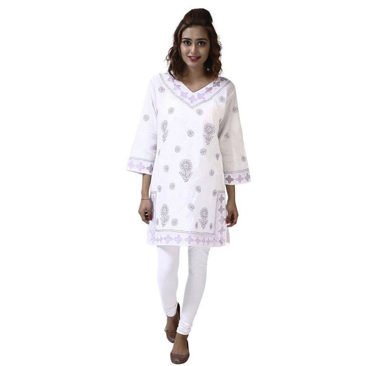 Lucknavi patch ladies kurta with Chikan Embroidery  Fit:- Regular  Washcare:-Normal Hand / Machiene wash with like colours