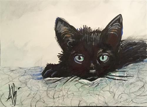 "Daily Paintworks - ""Black Kitten / print pattern"" - Original Fine Art for Sale - © Annette Balesteri"