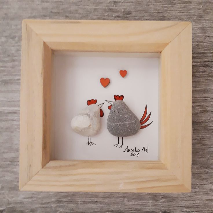 Chicken Valentine's gift, Valentine gift for her, Pebble Picture, Pebble art…