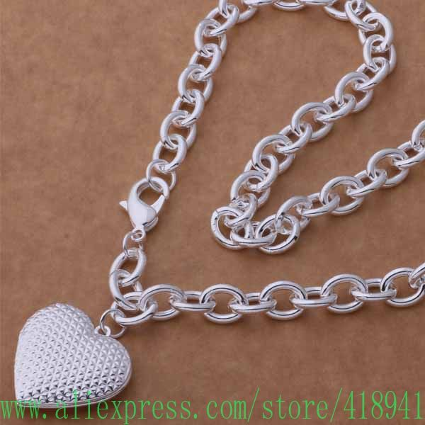 925 sterling silver Necklace, 925 silver fashion jewelry  Stereoscopic pattern heart-shaped necklace /eyganpna bziakqpa AN747