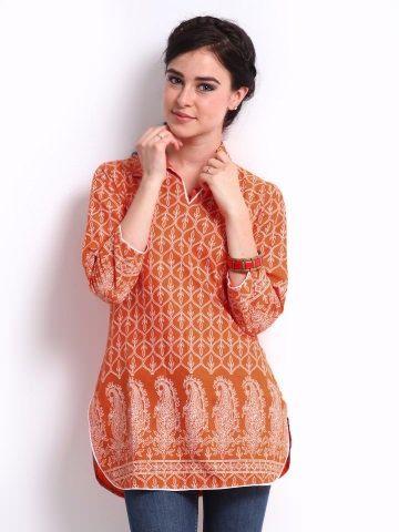 Women Orange Printed Kurta by ShopOfIndia on Etsy, $69.99