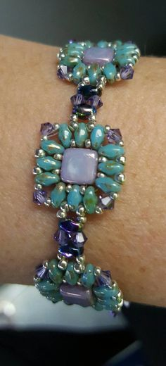 Super Duo Bracelet. Hand Beaded Bracelet. by LynnsBeadworkDesigns