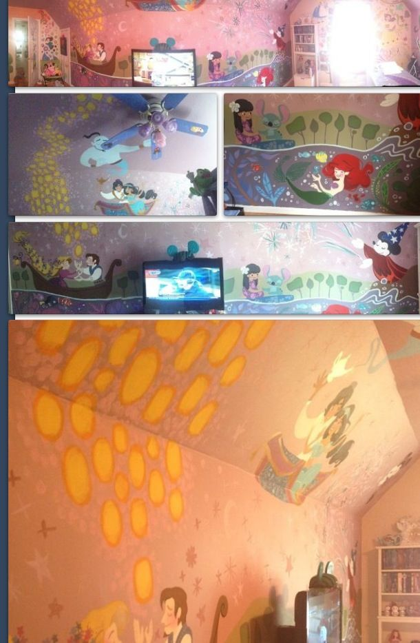 Paint children's room walls with Disney characters.