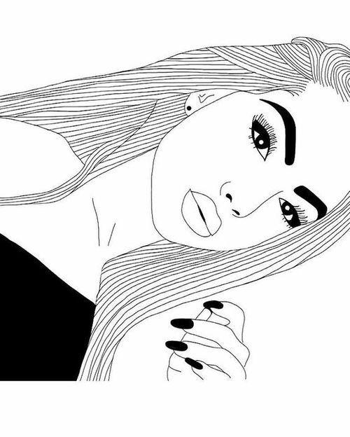 Dessin de fille noir et blanc