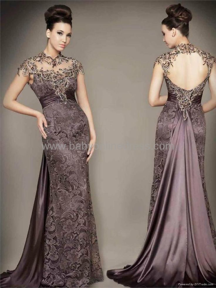 Sexy Lace Beading Cap Sleeves Sheath Evening Dress 2
