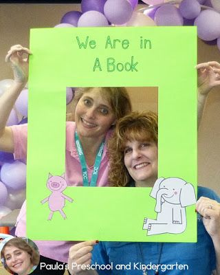So many fun ideas about ways to celebrate Elephant and Piggie: bird on my head hats, we are in a book poster, Piggie puppets, ice cream sensory play and more!