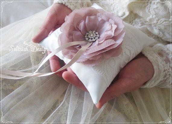 Ring Bearer Pillow Vintage Wedding Ring Pillow by SelinishDesign