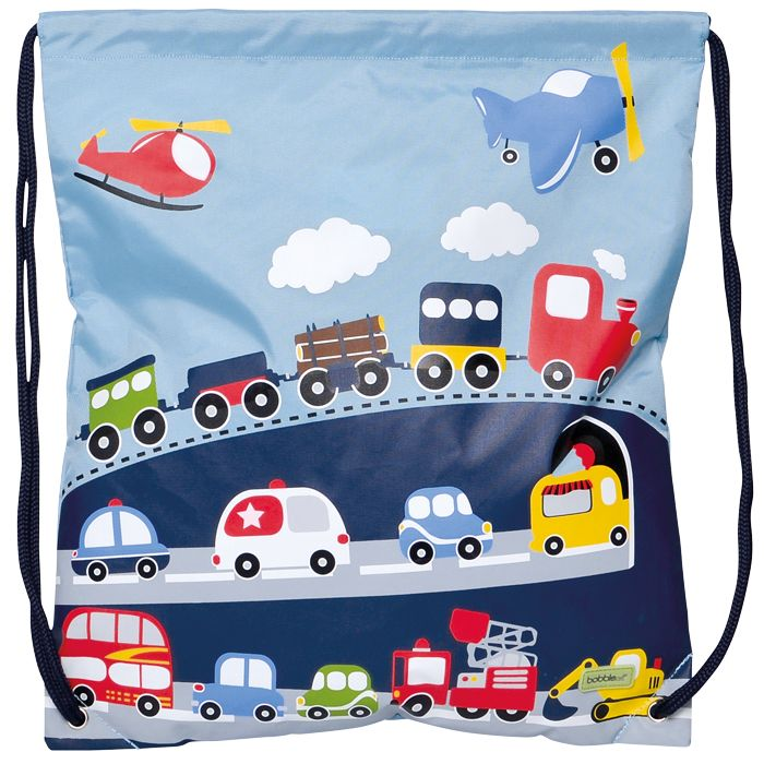 Bobble Art Swimming Bag- Kids Bags- Traffic.This fun traffic-themed Bobble Art drawstring swim or library books bag is made of a very durable nylon fabric and inside has a large, internal mesh pocket with zip closure.   Can be used to tote swim gear or books to the library.