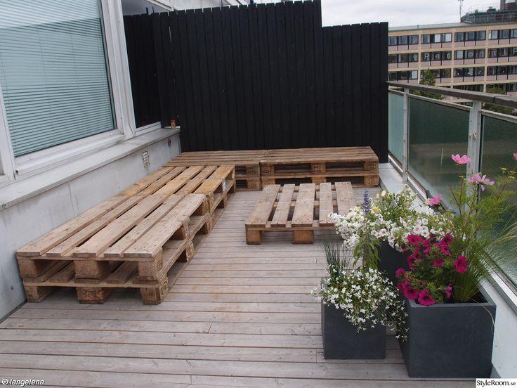 lastpall,lastpallar,sj-pallar,terass,balkong,utomhus,bord,hörnsoffa,lägenhet fem