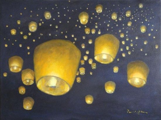 Sky lanterns also known as kongming lantern made of rice for Can you paint candles with acrylic paint