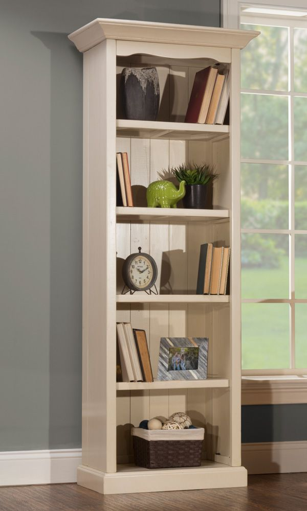 The Breckenridge Antique White Bookcase Displays Your Items In A Grand Fashion This Wooden Has Five Shelves And Decorative Molding