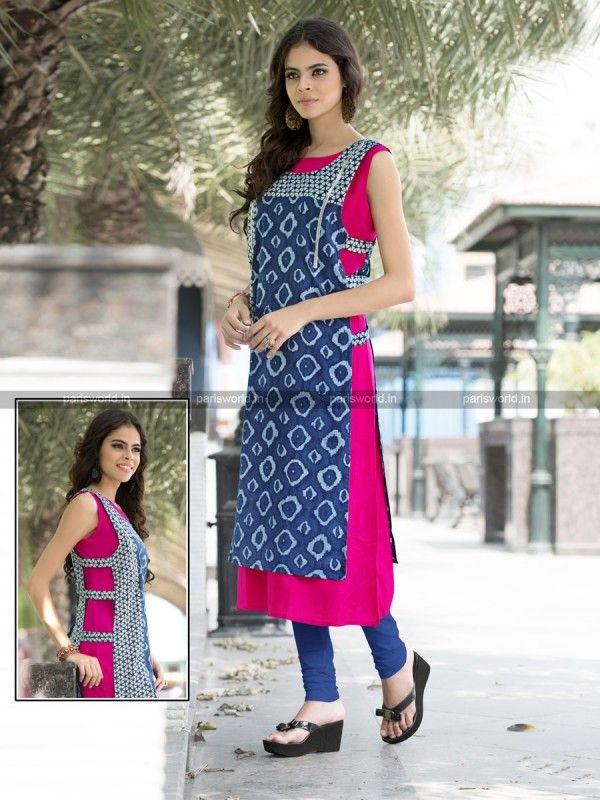 Blue N Pink Cotton Rayon Lovely Designer Kurti