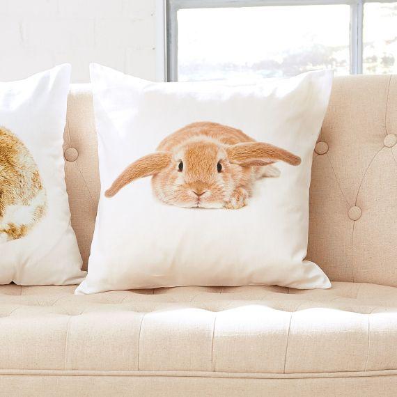 Dekokissen Hase mit Schlappohren 40x40 cm Ostern Kissenbezug Kissenhülle