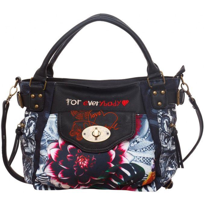 Plus sobre, mais tout autant original, ce sac à main noir et fleuri de Desigual est parfait pour un look casual ! Entre subtilité, mystère et féminin, ce sac Desigual a tout pour vous plaire Mesdames!