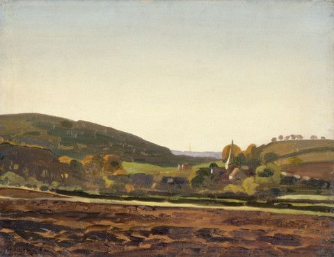 "Oil painting from the Fine Art collection. ""Harting"" by William Gunning King, showing a view of a church and village seen across a ploughed field."