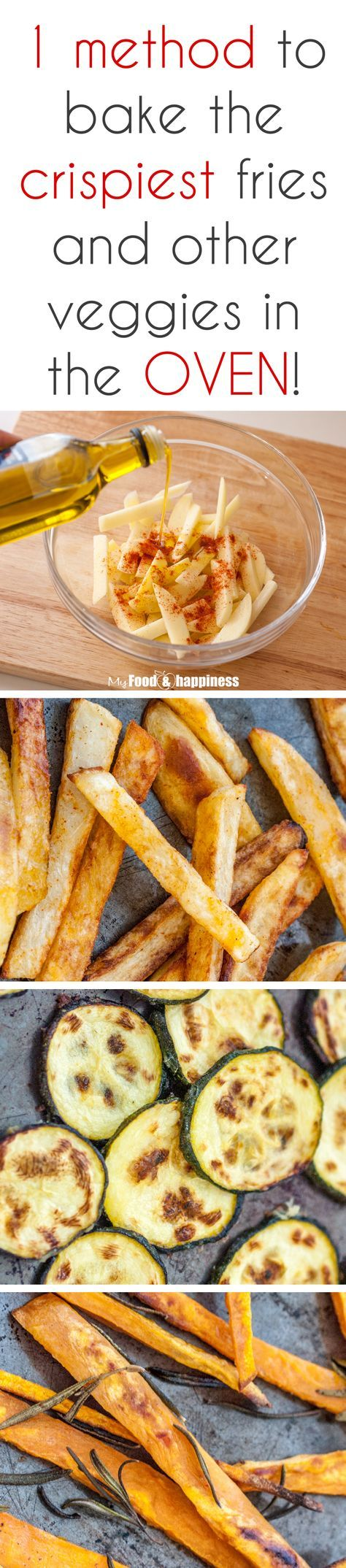 1 method to make delicious crispy sides: potato fries, sweet potato fries, zucchini and even carrot chips in the oven! Super easy and simple! This method will revolutionise your dinner time!