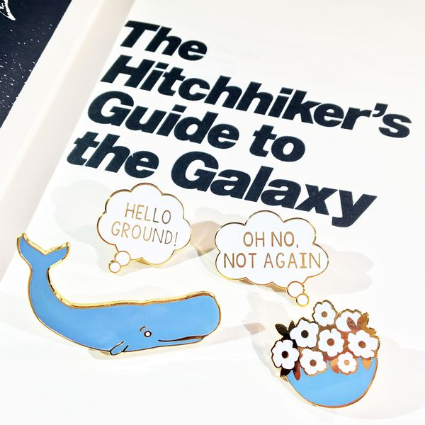 Hitchhiker's Guide to the Galaxy Pins from the #CandyDollClub by #JadeBoylan #DontPanic